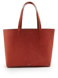 Mansur Gavriel Red Lined Large Leather Tote Bag Tan Multi