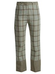 Cecilie Copenhagen Checked Cotton And Linen Blend Trousers Khaki Multi