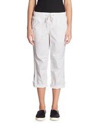 Lord And Taylor Solid Linen Cargo Pants White
