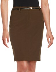Calvin Klein Petite Belted Pencil Skirt Loden Green