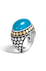 John Hardy Women's Dot Silver And Turquoise Dome Ring