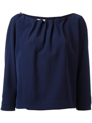 Armani Collezioni Pleated Trim Blouse Blue