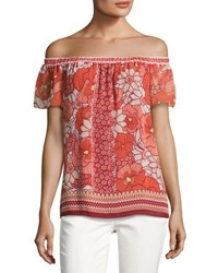 Max Studio Off The Shoulder Floral Print Georgette Top Orange Pattern