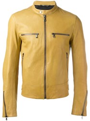Dolce And Gabbana Leather Zip Jacket Yellow