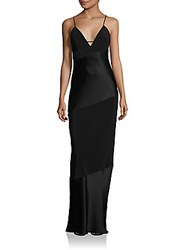 Abs By Allen Schwartz Bias Cut Deep V Neck Slip Gown Black