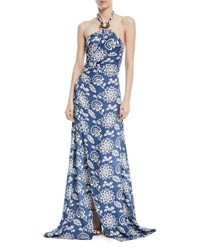 Ralph Lauren Halter Floral Print Silk Gown With Toggle And Rope Sky