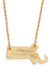 Women's Moon And Lola State Pendant Necklace Gold Massachusetts