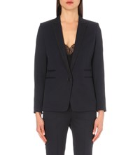 The Kooples Braided Trim Single Breasted Stretch Wool Jacket Navy