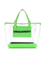 Dsquared Mykonos Transparent Pvc And Green Tote