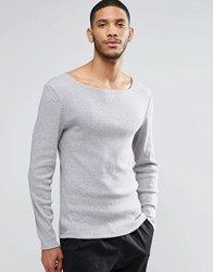 Asos Rib Extreme Muscle Long Sleeve T Shirt With Boat Neck In Gray Gray
