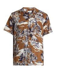 Etro Gazebo Print Linen Shirt Brown Multi