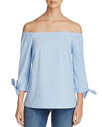 Cupio Off The Shoulder Tie Sleeve Blouse Blue Feather