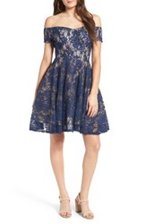 Soprano Women's Lace Off The Shoulder Fit And Flare Dress Navy