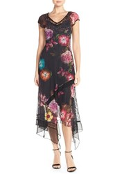 Petite Women's Komarov Floral Chiffon And Lace A Line Gown Moonlight