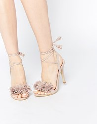 Daisy Street Blush Pom Ghillie Lace Up Heeled Sandals Pink