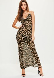 Missguided Brown Leopard Strappy Cowl Front Maxi Dress Multi