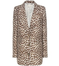 Stella Mccartney Wool Blend Jacquard Coat Brown