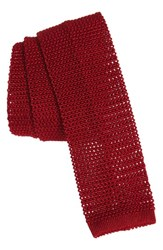 Michael Bastian Men's Solid Knit Silk Tie Red