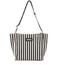 Marni Canvas Striped Shopper Black