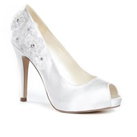 Paradox London Pink Cornflower High Heel Platform Shoes Ivory