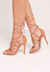 Missguided Curved Strap Wrap Around Heeled Sandals Blush Pink Pink