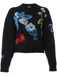 Anthony Vaccarello Embroidered Floral Jumper Black