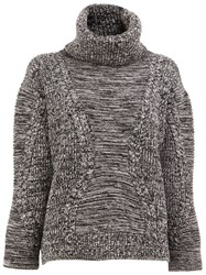 Maison Ullens Roll Neck Cable Knit Jumper Black
