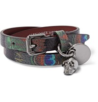 Alexander Mcqueen Peacock Feather Print Leather Wrap Bracelet Green