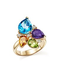 Bloomingdale's Multi Gemstone And Diamond Ring In 14K Yellow Gold Multi Gold