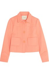Maje Vadim Cotton Blend Twill Jacket Coral