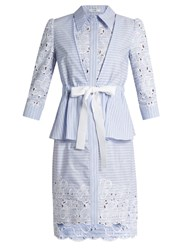 Erdem Zuni Striped Broderie Anglaise Dress Blue White