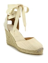 Soludos Canvas Ankle Wrap Espadrille Wedge Sandals Blush