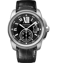 Cartier Calibre De Stainless Steel And Leather Watch