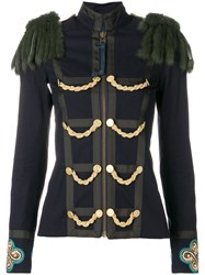 Mr And Mrs Italy Military Inspired Fitted Jacket Blue