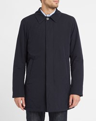 Hackett Navy Country Mac Wool Lined Raincoat Blue