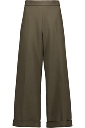 Marni Cropped Wool Blend Wide Leg Pants Army Green