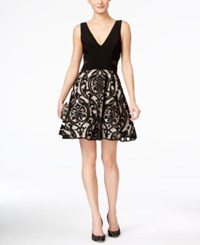 Xscape Evenings Xscape Embroidered V Neck Fit And Flare Dress Black Stone