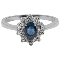 A B Davis 9Ct White Gold Sapphire And Diamond Cluster Engagement Ring