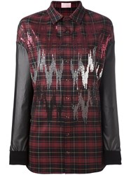 Giamba Contrast Sleeve Plaid Shirt Red