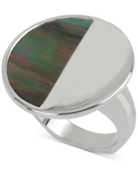 Kenneth Cole New York Silver Tone Black Mother Of Pearl Circle Ring