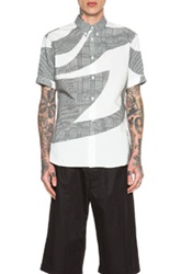 Alexander Mcqueen Printed Short Sleeve Button Down In Black White Checkered And Plaid Abstract