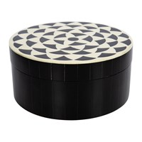 Amara Round Geometric Resin And Horn Box Black White