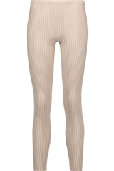 Magaschoni Ribbed Silk Blend Leggings Beige