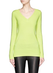J.Crew Collection Cashmere V Neck Sweater Yellow