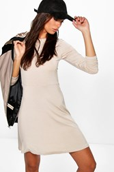 Boohoo Skater Dress With Long Sleeves Stone