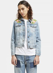 Gucci Embroidered Patch Denim Jacket Blue