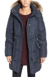 Pajar Women's Bryce Three Quarter Quilted Down Coat With Detachable Genuine Fur Hood Navy