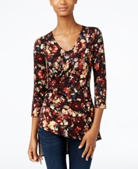 Cable And Gauge Printed Faux Wrap Asymmetrical Hem Top Burgundy Floral