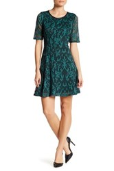 Marina Mesh Paisley Fit And Flare Dress Petite Green