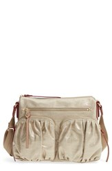 M Z Wallace Mz Paige Metallic Linen Shoulder Bag Metallic Gold Glazed Linen